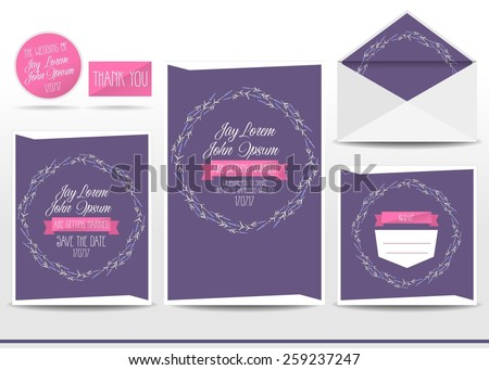 Wedding invitation cards set with lavender flower, thank you card, save the date card, envelope, RSVP card. - stock vector