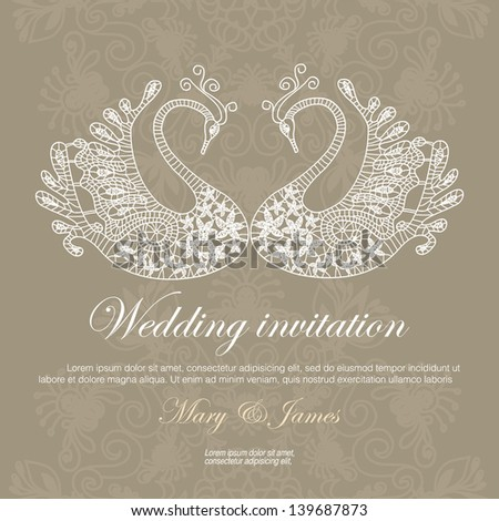 Wedding invitation decorated with lace swans - stock vector