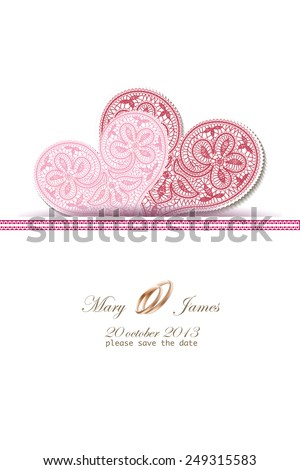 Wedding invitation decorated with white lace hearts - stock vector