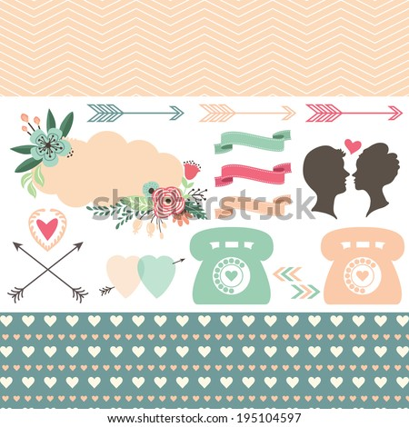 Wedding invitation design elements- Illustration - stock vector