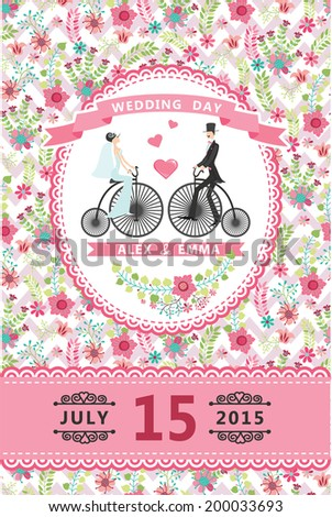 Wedding invitation design template.Cartoon  Bride, groom on retro bicycle, floral pattern and ribbons.For Invitation, save the date card.Vector illustration.Retro style, vintage. - stock vector