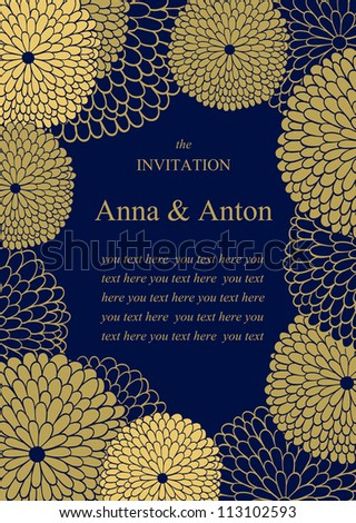 Wedding invitation. Floral romantic vector background. Frame with flowers and text. - stock vector