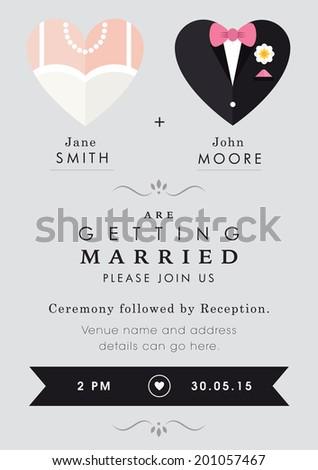 Wedding invitation heart theme - stock vector