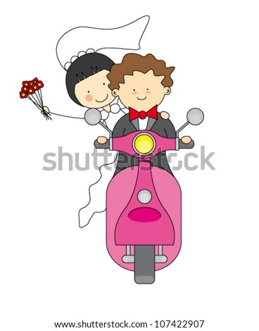 wedding invitation. Just married by motorcycle - stock vector