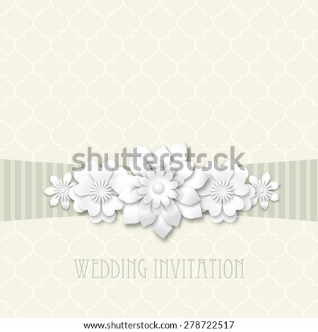 wedding invitation, on beige vintage background, with white 3d flowers, vector illustration, eps 10 with transparency - stock vector