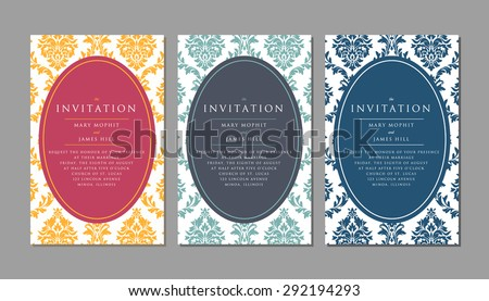 Wedding invitation on damask background. Template framework Wedding invitations or announcements with vintage background artwork - stock vector