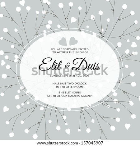 Wedding invitation or card with abstract floral background. - stock vector