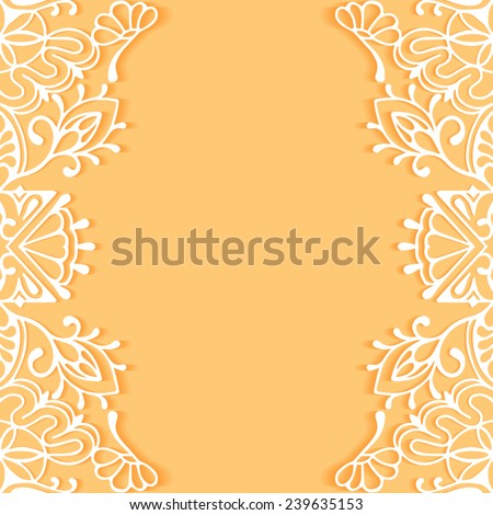 Wedding invitation or greeting card design with lace pattern, beautiful luxury postcard, ornate page cover, ornamental vector illustration - stock vector