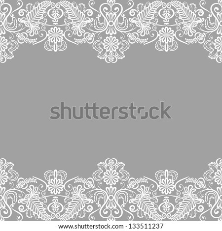 Wedding invitation or greeting card with lace border - stock vector