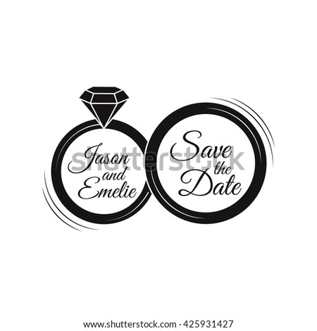 Wedding invitation. Save the date. Wedding rings. Just Married. Filigree ornate divider frame element. Brilliant or diamond. Vintage ring with diamond for logo, label, emblem, invitation. - stock vector