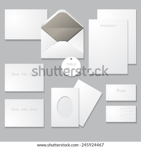 Wedding invitation set (thank you card, save the date card, RSVP card). Set of wedding templates with shadows, isolated on gray background. For Special Occasions & Life events. - stock vector