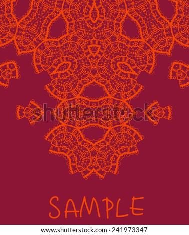 Wedding  invitation. Stylized indian mehndi inspired art over red background. Vintage tribal style element for flyer design. Unusual liginoru elements - stock vector