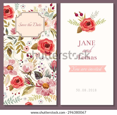Wedding invitation template - stock vector
