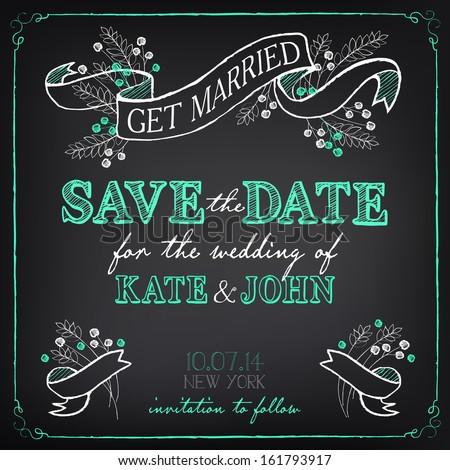 Wedding Invitation Template. Chalkboard style vector card  - stock vector