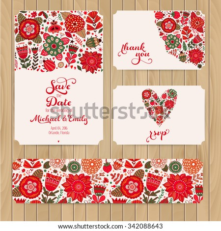 Wedding Invitation Template: invitation, envelope, thank you card, save the date cards. Wedding set. RSVP card. Marriage event. Valentine, seamless pattern is masked and complete - stock vector