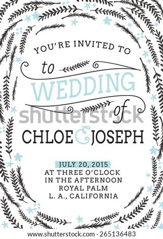 Wedding invitation template. Vector wedding card. - stock vector