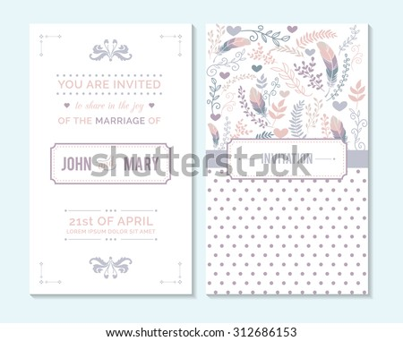 Wedding invitation, thank you card, save the date cards. Wedding invitation. - stock vector