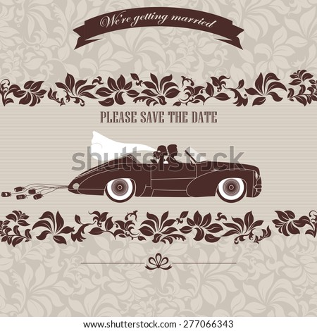 Wedding invitation, the bride and groom in retro car on a floral background - vector illustration - stock vector