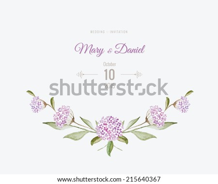 Wedding invitation watercolor. Save The Date card with flowers and leaves in gentle tones. Beautiful floral background with text and decorative design elements page - stock vector