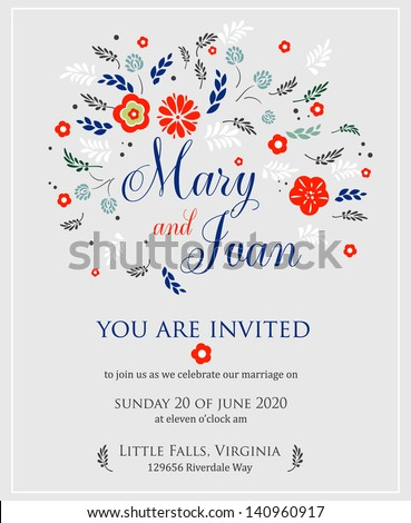Wedding invitation with abstract floral background. - stock vector