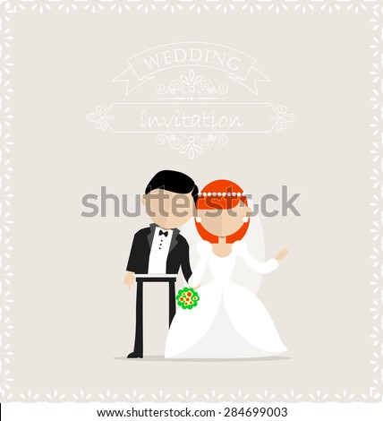 Wedding invitation with bride and groom image on the center - stock vector
