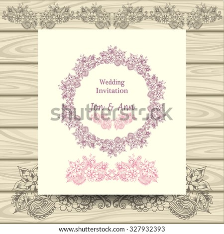 Wedding invitation with doodle floral elements pink on beige on wood background - stock vector