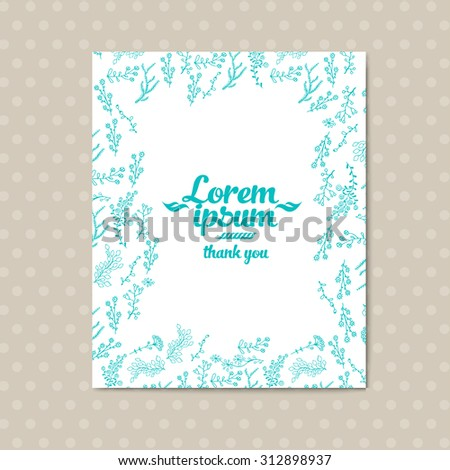 Wedding invitation with floral doodles romantic vintage theme. Greeting card made in retro style. Templates banner in vintage design.  Vector banner templates - stock vector