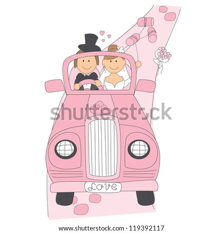Wedding invitation with funny bride and groom on car driving to their honeymoon - stock vector