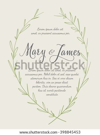 Wedding Invitation with Hand drawn laurel wreaths. Vintage design. Vector illustration - stock vector