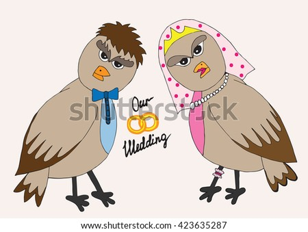 Wedding invitation with two bird on the bright background.  Vector illustration of snail can be used to design for T-shirt, card, poster, invitation. - stock vector
