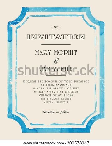 Wedding invitation with watercolor frame. Retro style hand drawn ornament. Vector illustration - stock vector