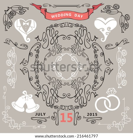 Wedding invitations design template set.Swirling decor elements,stylized heart,ribbons,calligraphic border , icons.For invitation,save date card,bridal shower invitation.Style of art Nouveau.Vector. - stock vector