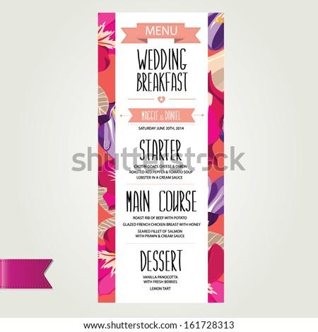 Wedding menu, template design.Vector illustration. - stock vector