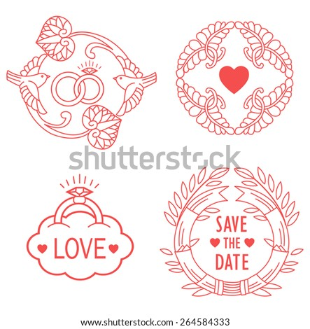 Wedding monograms.Set of holiday decoration elements.Line design elements for invitation in modern style.  - stock vector