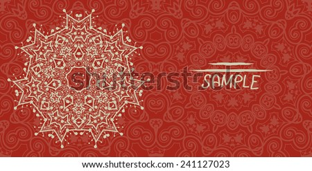 Wedding or invitation card design made of tribal style lace. Islamic, arabic, indian, ottoman, asian motifs. Flayer template in red color. Mandala like flower. - stock vector