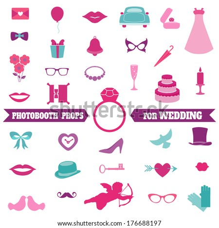 Wedding Party Set - Photobooth Props - glasses, hats, mustaches, elements - in vector  - stock vector
