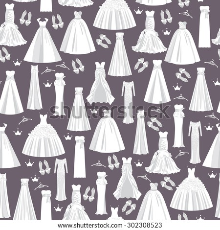 Wedding pattern with white dresses for bride on dark background. Vector seamless texture for paper, fabric, invitations and other printing, web projects. - stock vector