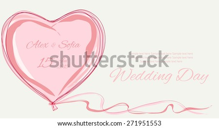 wedding pink sweet heart background hand drawn vector illustration - stock vector