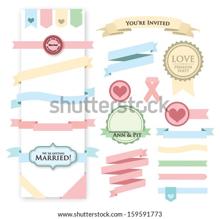 Wedding Riibon, Heat, Label  - stock vector