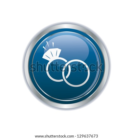 Wedding rings icon on the blue with silver button. Vector illustration - stock vector