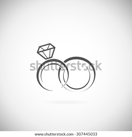 Wedding rings vector icon on a white background - stock vector