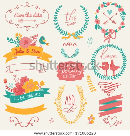 Wedding romantic collection with labels, ribbons, hearts, flowers, arrows, wreaths, laurel and birds. Graphic set in retro style. Save the Date invitation design elements - stock vector