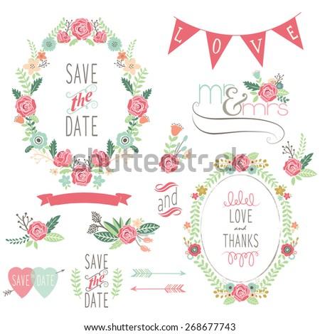 Wedding Rose Wreath Elements - stock vector