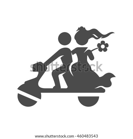 Wedding scooter icons in single color. Newlywed riding scooter motor - stock vector