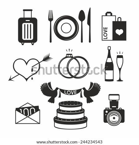 Wedding set icon - stock vector