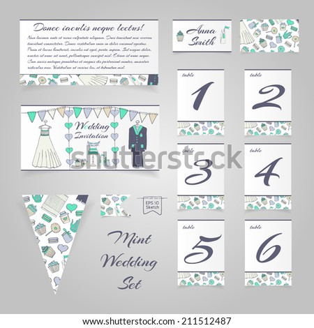 Wedding set | Invitation | Table numbers | Place card | Banner | Flag - stock vector