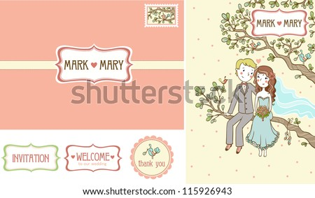 Wedding Set. Set of wedding invitation cards. - stock vector