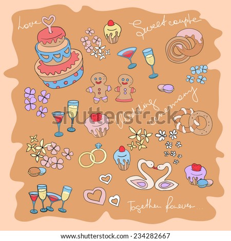 Wedding set with cakes, hearts, glasses and rings. Scrapbooking wedding collection. Valentine's Day card. Love symbols. Vector EPS10 - stock vector