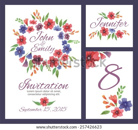 Wedding set with watercolor flowers. Wedding invitation, table number, guest card. Floral backgrounds - stock vector