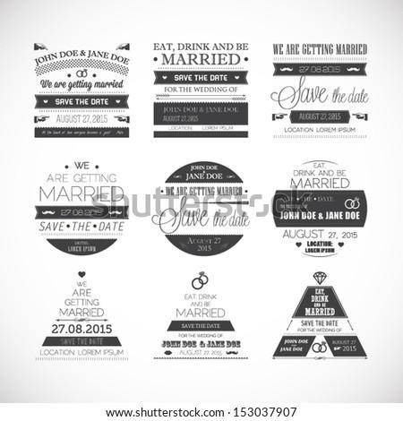 Wedding stamps - stock vector